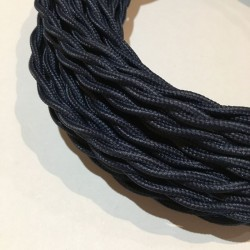 câble électrique textile torsadé bleu marine