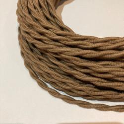 Câble textile torsadé coton marron