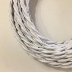 câble électrique textile torsadé blanc