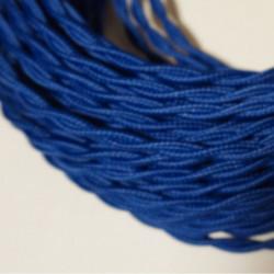 câble électrique textile torsadé bleu