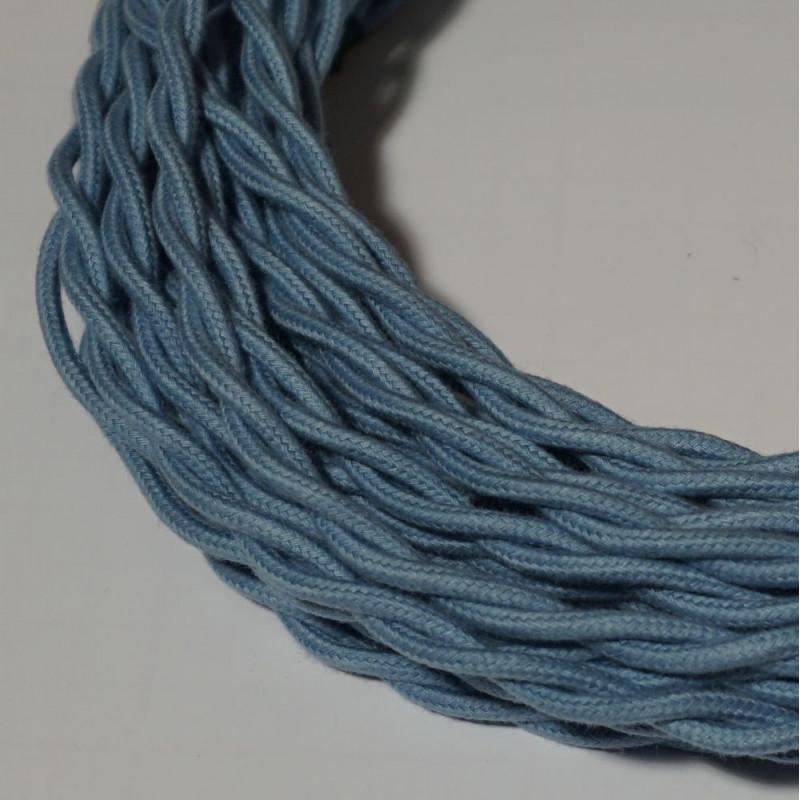 câble électrique textile torsadé bleu lavande