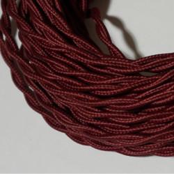 câble électrique textile torsadé bordeaux