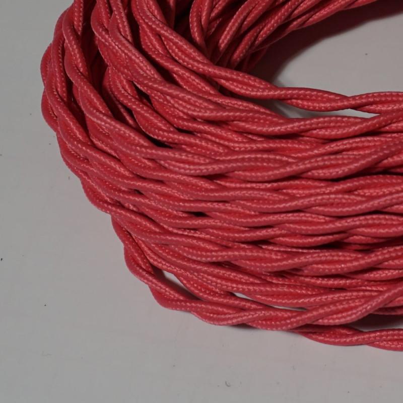 câble électrique textile torsadé fuschia