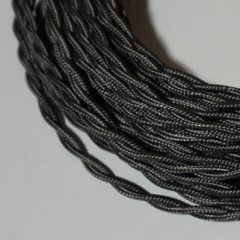 câble électrique textile torsadé gris foncé