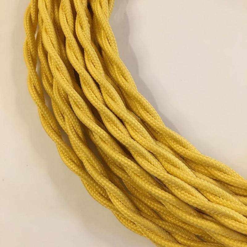 câble électrique textile torsadé jaune
