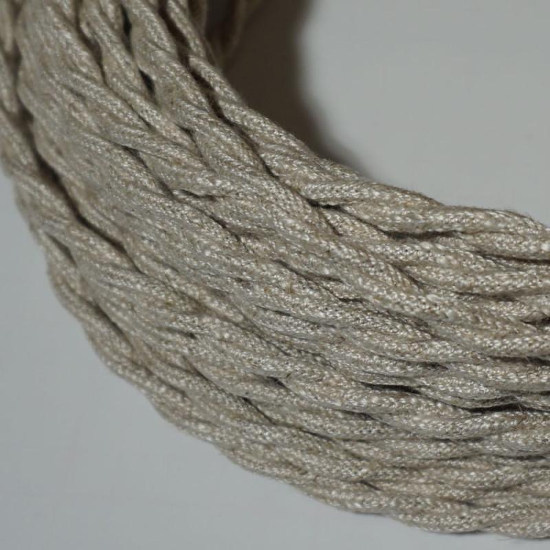 câble électrique textile torsadé lin clair