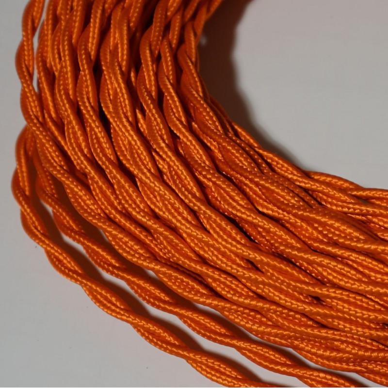 câble électrique textile torsadé orange