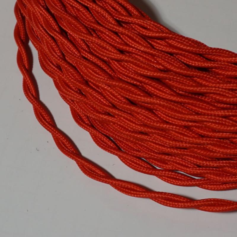 câble électrique textile torsadé rouge