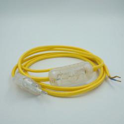 Cordon équipé textile rond jaune