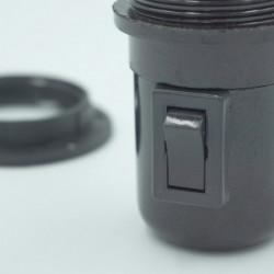 Douille E27 noire avec interrupteur intégré
