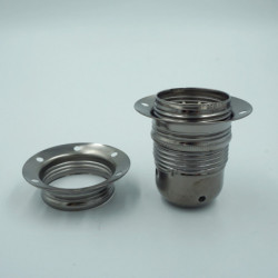 Douille E27 en métal couleur perle noire