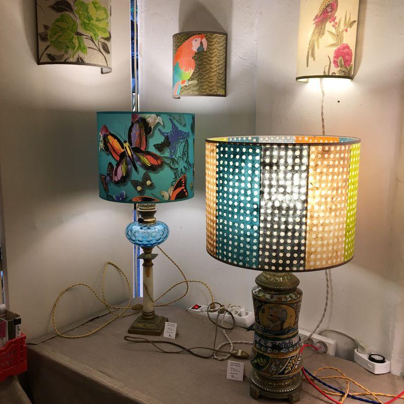 objets anciens montées en lampes